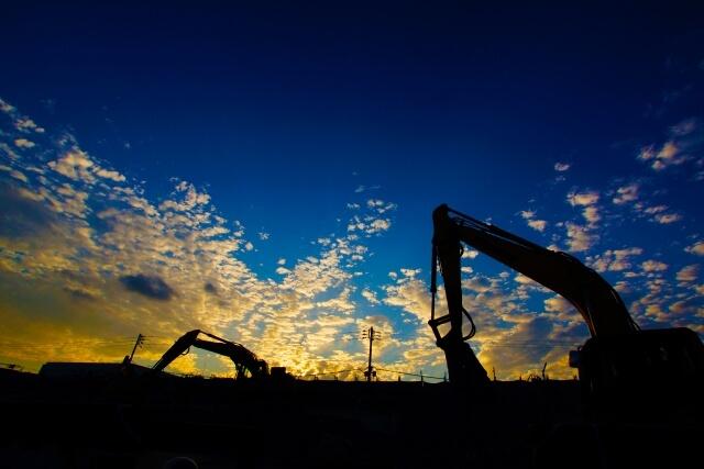 工事現場の夕焼け